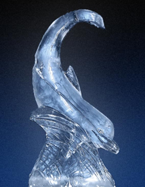 dolphin ice sculpture wedding ice carving bespoke ice sculpture